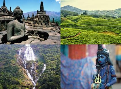 поля и водопады в Индии
